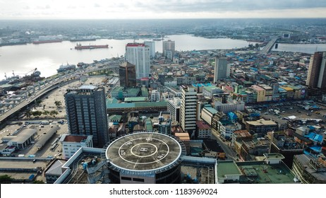Lagos Island, Lagos State, Nigeria- September 11, 2018: Aerial photo of Lagos Island Nigeria