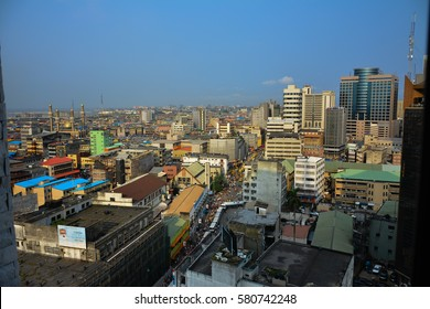 Lagos, Nigeria - August 11, 2016: Beautiful blue urban landscape in Lagos Nigeria.
