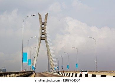 Lagos, Nigeria: Cable-stayed toll bridge connecting Lekki and Ikoyi. Suspension bridge, transportation. Nigerian landmark.
