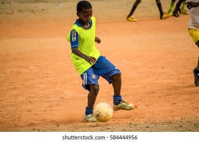 Lagos, Nigeria - February 18, 2017: Grass root football training at Ajelogo.