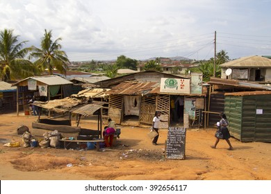 LAGOS, NIGERIA - MAY 11, 2012: People around a poor zone in the city of Lagos, one of the fastest growing cities in Africa, in Nigeria, on May 11, 2012