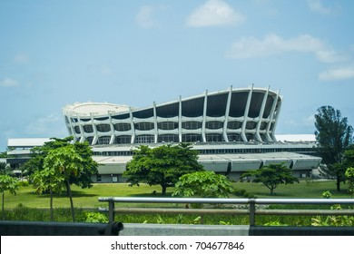 LAGOS, NIGERIA - MAY 20, 2017: National Theatre Monument Building at Iganmu