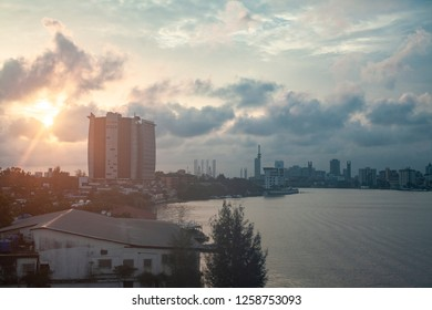 Lagos, Nigeria - September 3, 2018 - View of Victoria Island bay at Sunset