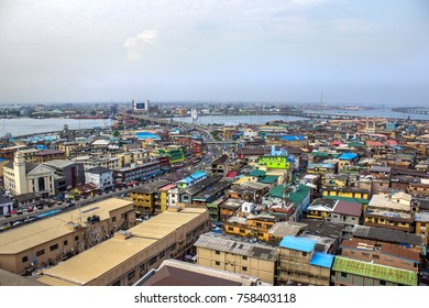 Lagos, Nigeria Urban - August 17, 2017: A commercial urban town in Lagos Nigeria.