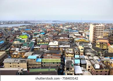 Lagos, Nigeria Urban - August 17, 2017: A commercial urban town in Lagos Nigeria.