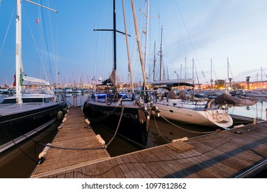 Lagos, Portugal - April 22, 2018: Night view of Luxury yachts and sailboats at the Lagos Marina. Lagos is a coastal city in the southern Algarve region of Portugal.