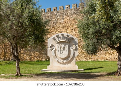 LAGOS, PORTUGAL - CIRCA MAY 2018: City coat of arms near the Governors Castle (Castelo dos Governadores), Lagos, Algarve, Portugal.