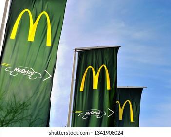 LAGOS, PORTUGAL - FEBRUARY 26: Logo of McDonald's and Mcdrive in Lagos, Portugal on February 26, 2019.