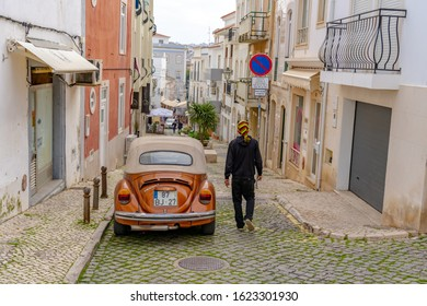 Lagos, Portugal - January 3rd, 2020:Street in the old town in the center of Lagos, Algarve region, Portugal. Narrow street in Lagos, Algarve, Portugal.