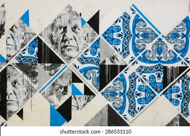 """LAGOS, PORTUGAL - MAY 3, 2015: Old man multiplied portrait with painted Azulejo tiles by graffiti artists Add Fuel and  Samina during ARTUR (""""Artistas Unidos em Residencia"""") festival in 2013."""