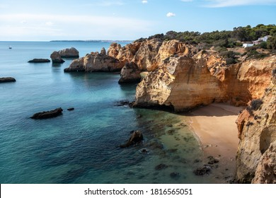 Lagos, Portugal - October 22, 2019: High Angle View Of Praia De Camilo, The Most Popular Beach in Lagos Portugal.