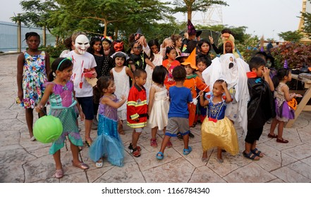 "Lagos/Nigeria-30th October 2017: Photos of unidentified children from the expat community celebrating Halloween. They went from apartment to the other ""Trick or Treat"". Selective focus."