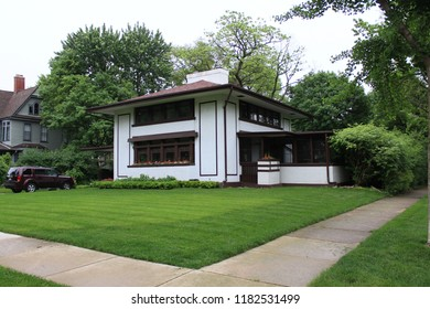 Lagrange, Illinois - 05/30/2015: Stephen Hunt Residence. Architect Frank Lloyd Wright. Built 1907.
