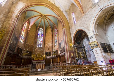 LAGRASSE, FRANCE - August 14, 2016: The Church of Saint Michael (eglise Saint Michel), built in gothic style.