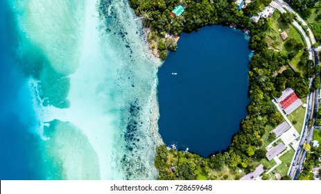 Laguna Bacalar - the lake of seven colors. The fresh water lake feed by underground cenotes that looks like the ocean