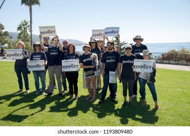 Laguna Beach, CA -  September 30th 2018. Indivisible OC48 meeting to gather support for congressional democratic candidate Harley Rouda running for congress running against republican Dana Rohrabacher