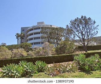 Laguna Beach, Calif./USA-June 20, 2016: Mission Hospital occupies a cylindrical tower on a hillside, visible from Orange County's Pacific Coast Highway.