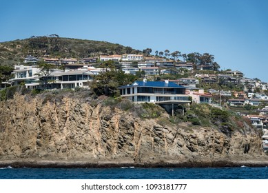 LAGUNA BEACH, CA/U.S.A. - MARCH 27, 2018:  A view of the multi-million dollar homes located on Emerald Point, in Laguna Beach. Prices in Southern California are at a record high.