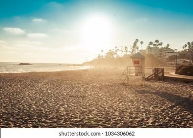 Laguna Beach lifeguard in sunset light