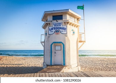 Laguna Beach lifeguard tower in sunset light