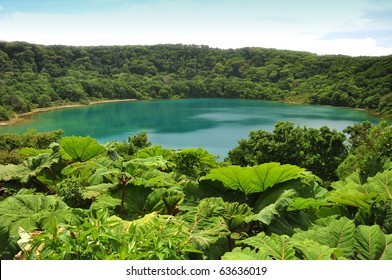 Laguna Botos, a Blue Lake in Poas National Park of Costa Rica