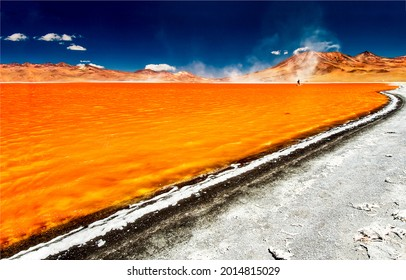 Laguna Colorada Lake in Bolivia. Laguna Colorada lake. Orange lake in Bolivia. Laguna Colorada Lake