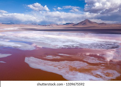 Laguna Colorada, on Eduardo Avaroa National Reserve in Uyuni, Bolivia at 4300 m above sea level.  - Aerial Drone Scene