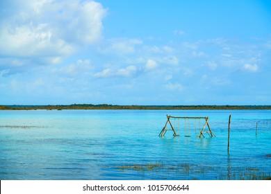 Laguna de Bacalar Lagoon in Mayan Mexico at Quintana roo