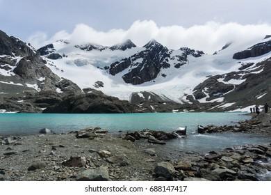 Laguna de los Tempanos and Vinciguerra Glacier in Ushuaia, Argentina