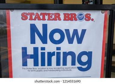 Laguna Hills, CA / 10/28/2018: Now Hiring at the Local Stater Bros.
