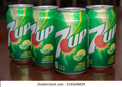 Laguna Hills, CA / USA - 07/30/2018: Unopened Cans of 7UP