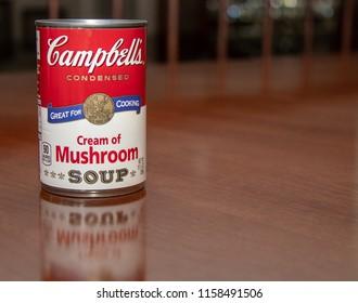 Laguna Hills, CA / USA - 08/17/2018: Campbell's Cream of Mushroom Soup