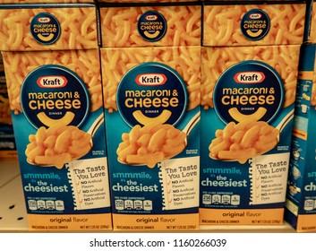 Laguna Hills, CA / USA - 08/19/2018: Kraft Macaroni and Cheese on Display in a Grocery Store
