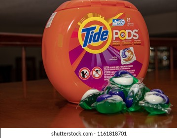 Laguna Hills, CA / USA - 08/19/2018: Container of Tide and the Laundry Pods