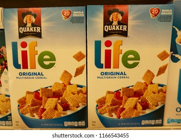 Laguna Hills, CA / USA - 08/28/2018: Quaker Life Cereal on Display in a Grocery Store