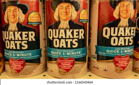 Laguna Hills, CA / USA - 08/28/2018: Quaker Oats on Display in a Grocery Store