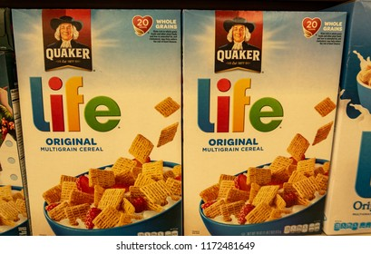 Laguna Hills, CA / USA - 09/04/2018:  Quaker Oats Life Cereal On Display in a Grocery Store