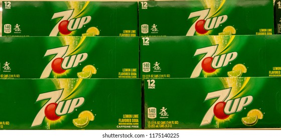 Laguna Hills, CA / USA - 09/08/2018: 7UP on Display in a Grocery Store