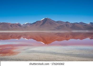 Laguna Kara salt lake with reflection of the mountain, Eduardo Avaroa Andean Fauna National Reserve, Bolivia.