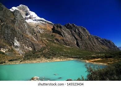 Laguna Llanganuco in Cordilera Blanca, Peru, South America