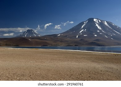 Laguna Miscanti located at 4350 meters and Volcan Miniques in the Antofagasta Region of northern Chile