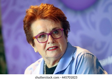 Laguna Niguel, CA, USA, Tuesday, Oct. 8, 2014; Billie Jean King, Co-founder of World Team Tennis and President of Billie Jean King Enterprises, Inc. speaks during the 2014 Most Powerful Women Summit.