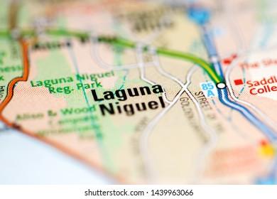 Laguna Niguel. California. USA on a geography map