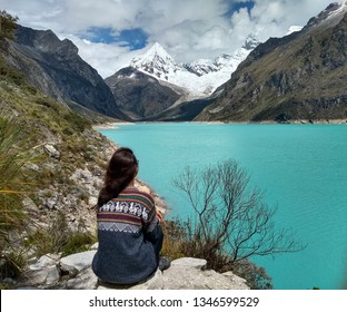 Laguna Paron, Huaraz, Peru. A blue-green lake in the Cordillera Blanca on the Peruvian Andes. At 4185 meters above sea level, it's surrounded by snowy peaks and a pyramid mountain.