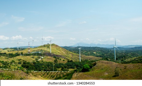 Laguna, Philippines - March 13, 2019: View of windmill farm in Pililla, Laguna, Philippines