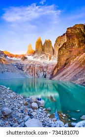 Laguna torres with the towers at sunrise, Torres del Paine National Park, Patagonia, Chile