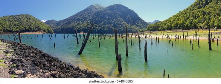 Laguna Verde at Conguillio N.P. (Chile) - panorama