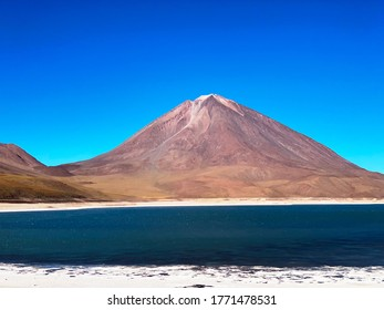 Laguna Verde (green lake)- salt lake located at an altitude of about 4300 meters above sea level in Bolivia.Near  volcano Licancabur. Emerald color of lake is due to the high content of minerals.