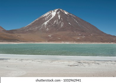 Laguna Verde is a highly concentrated salt lake located in the Eduardo Avaroa Andean Fauna National Park at the foot of the Licancabur volcano, Sur Lipez Province, Bolivia - South America