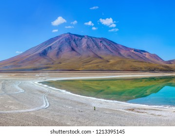 Laguna Verde is a salt lake at the foot of the volcanos Licancabur and Juriques - Eduardo Avaroa Andean Fauna National Reserve, Bolivia